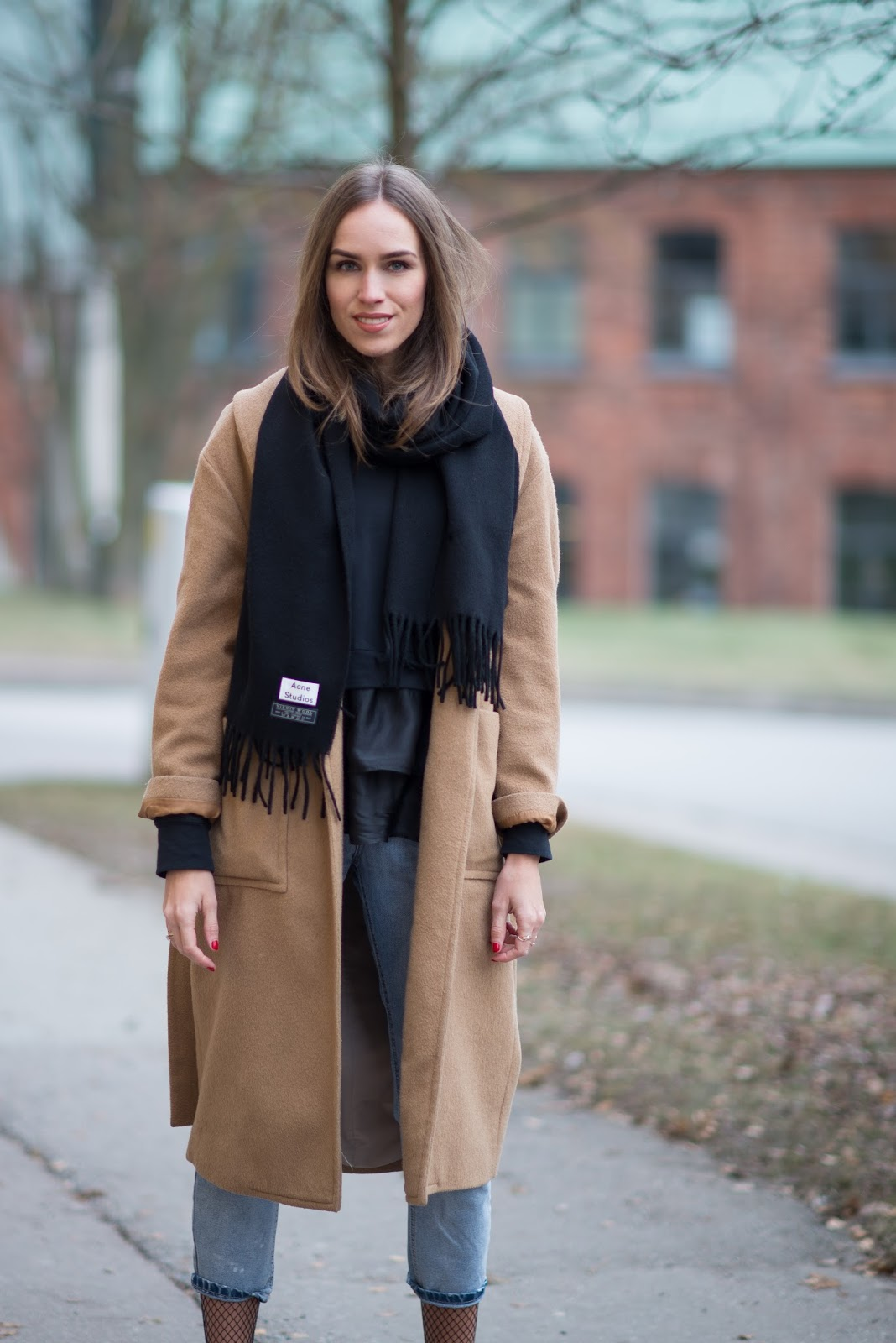 acne scarf outfit black