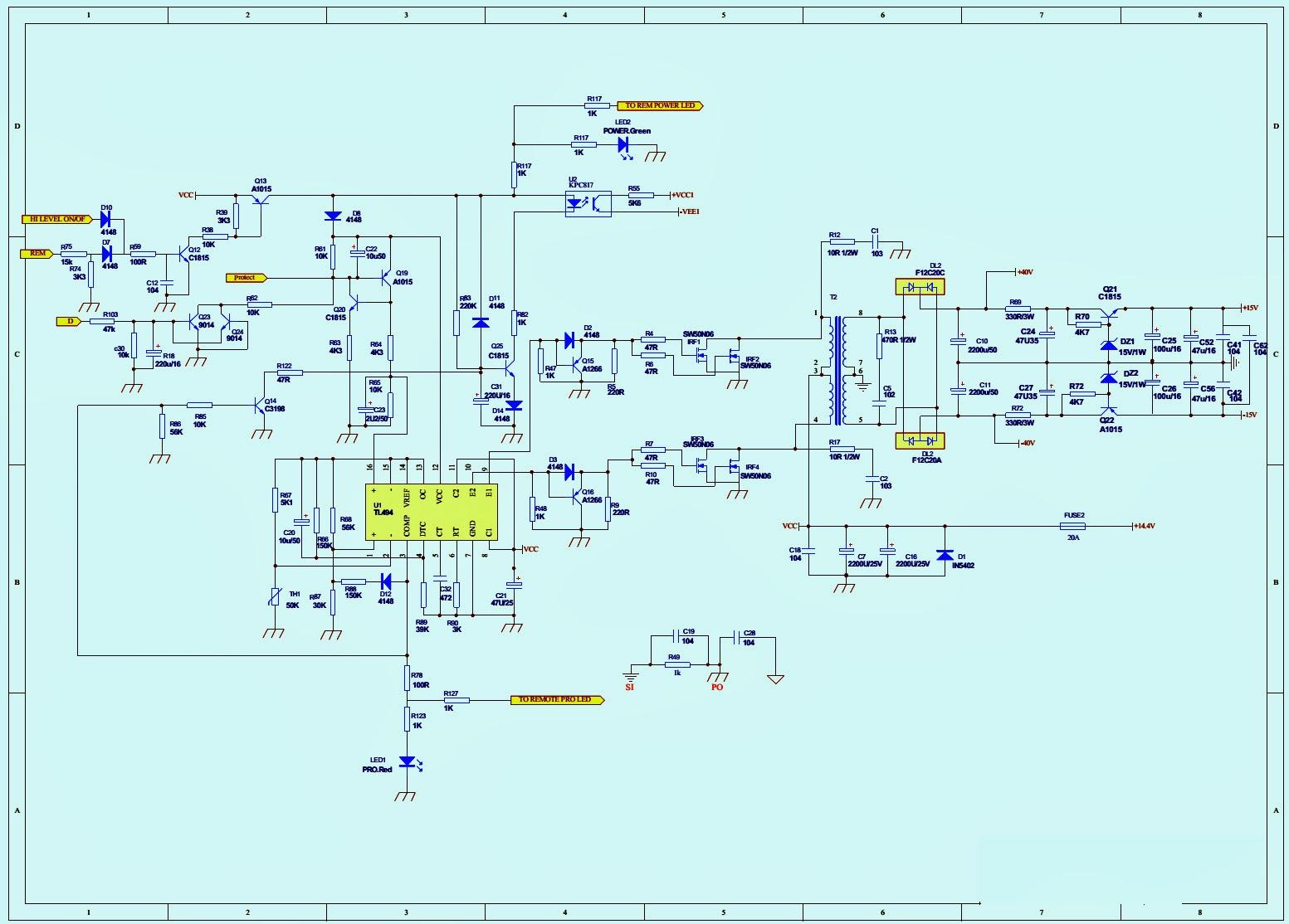 JBL  GTBassPro12 – SCHEMATIC – Powered car subwoofer (Circuit Diagram)   Electro help