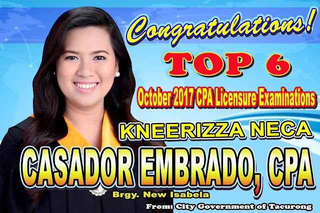 Tacurongnon Top 6 in CPA Board Exam