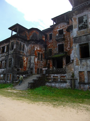 Bokor national park hill station burned buildings from the war