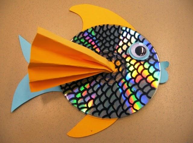 Membuat ikan hias dari CD bekas