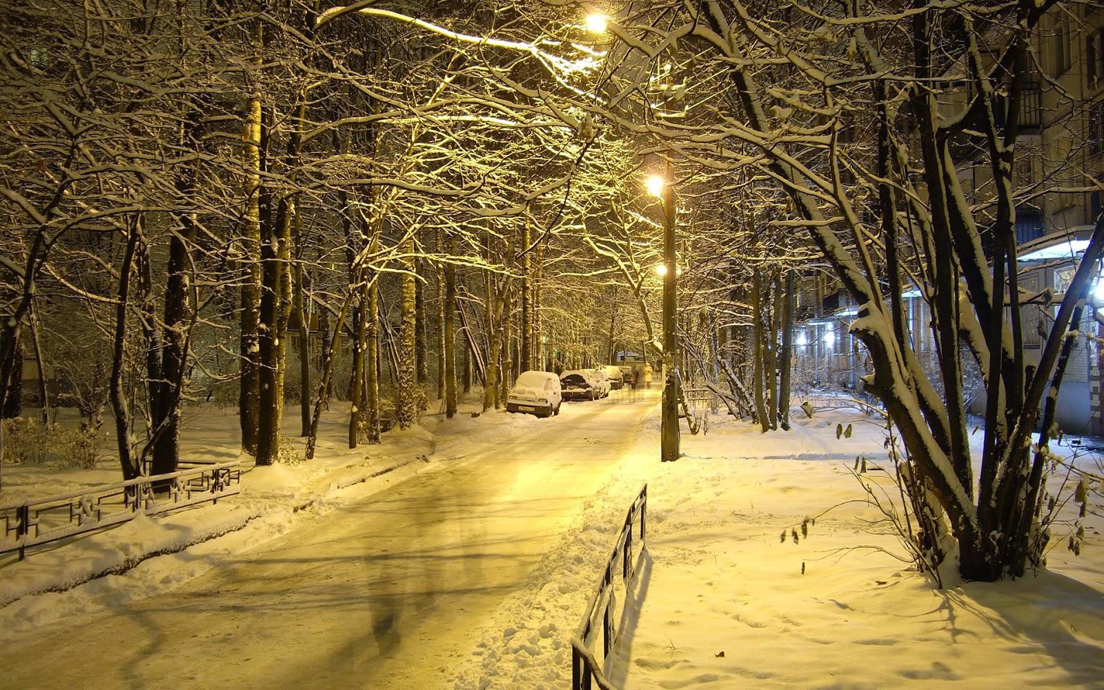 Straten met sneeuw in de winter