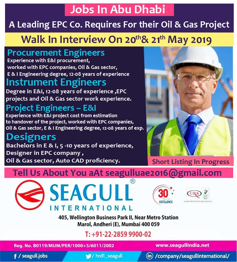 EPC company requires for their Oil & Gas roject in Abu Dhabi