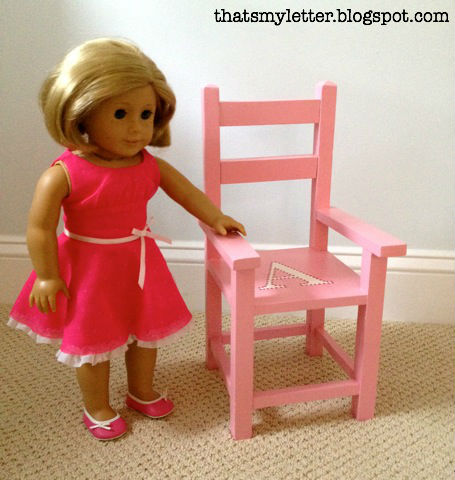 """refinished 18"""" doll chair with monogram"""