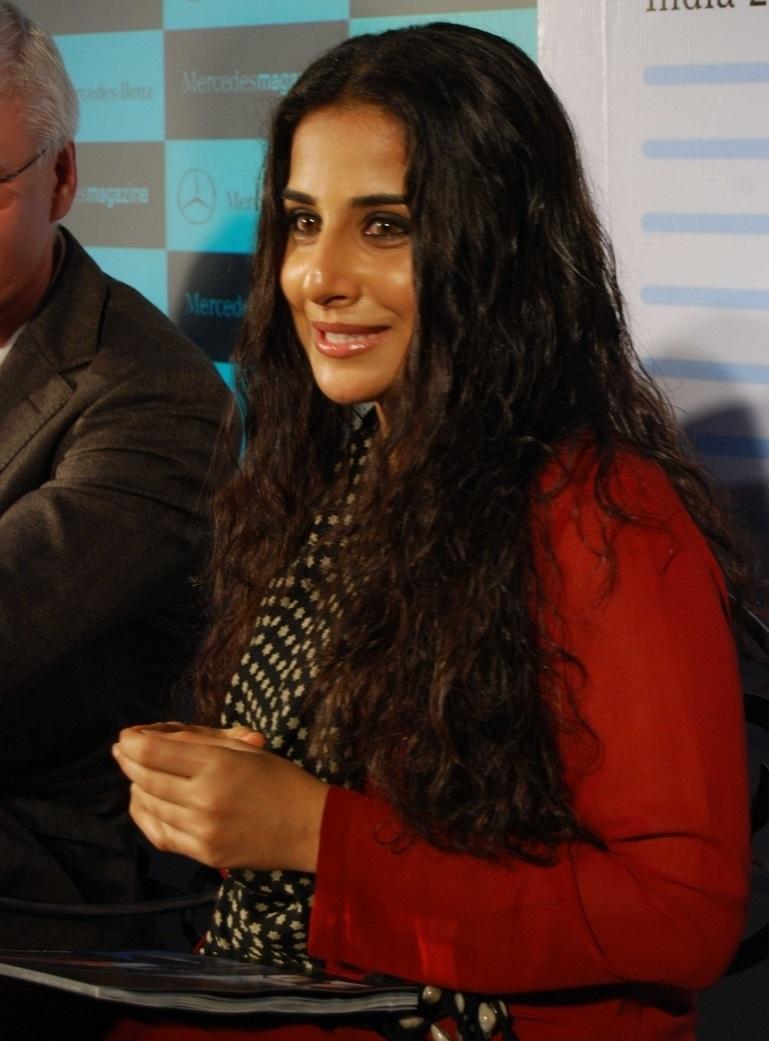 Film Actress Vidya Balan Long hair In Maroon Dress