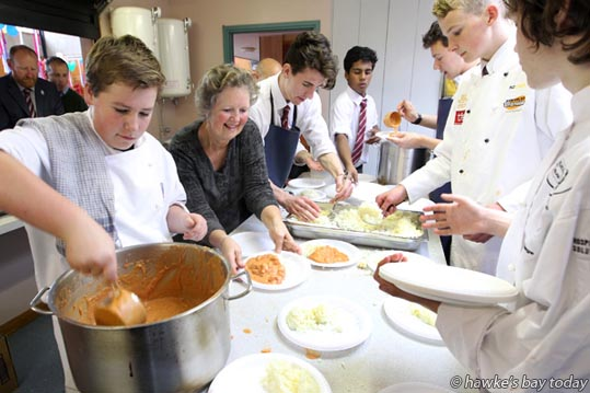L-R: Matt Lee, Chris Versey, special education needs co-ordinator, Sam Heaven, Jerin Joshy, Daniel Moss, Jack Cooper, Tilo Majer - St John's College, Hastings, celebrated their 75th anniversary with a lunch of curry and rice, prepared by the school's Culinary Arts Institute in the Barry O'Connor Centre. Pupils were served by the teachers. Guest speaker was Hastings District Cr Henare O'Keefe. photograph