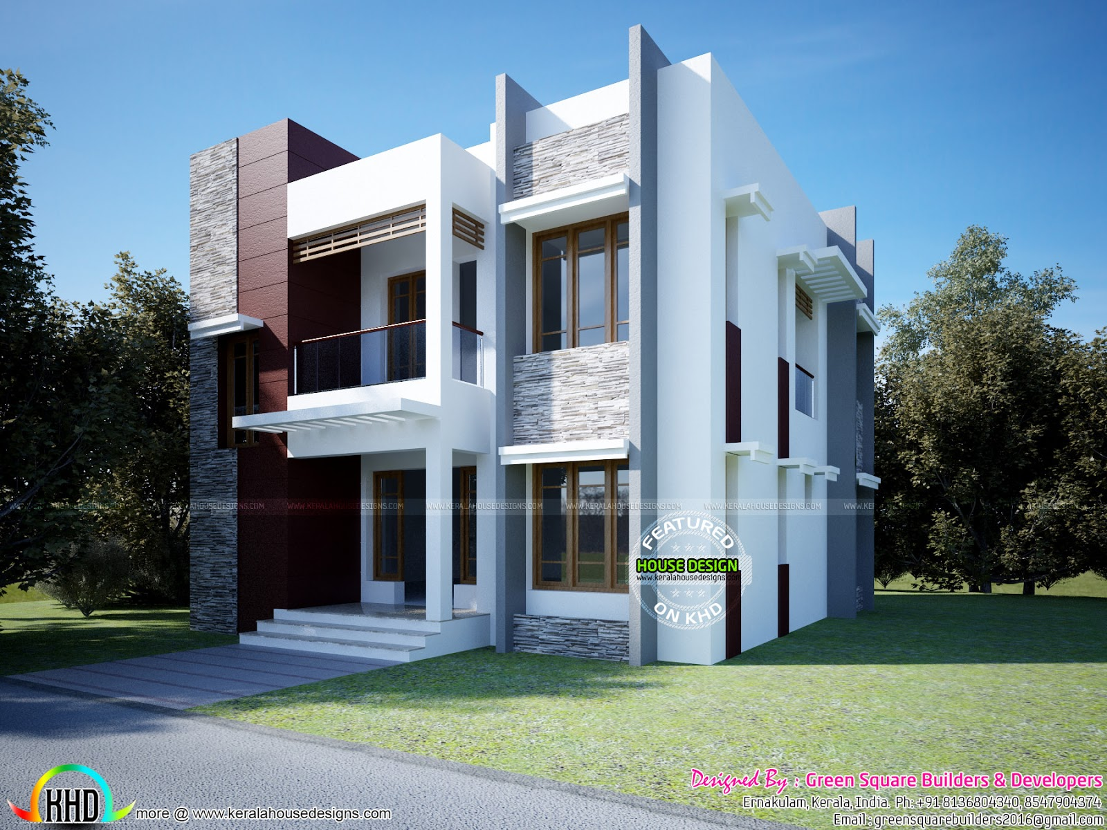 1618 sq ft modern box type home kerala home design and for Modern box house design
