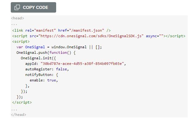 Now you get a javascript code copy it