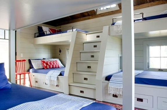 Bunk beds with bedroom style inside the yacht