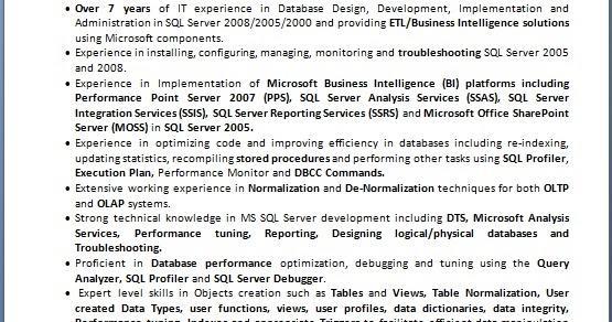 sql bi consultant  ssis ods  sample resume format in word
