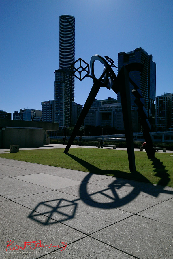 "South Bank QAG, State library. ""Approaching Equilibrium"" by Anthony Pryor 1951-1991; Meriton apartments in background. Photo by Kent Johnson."