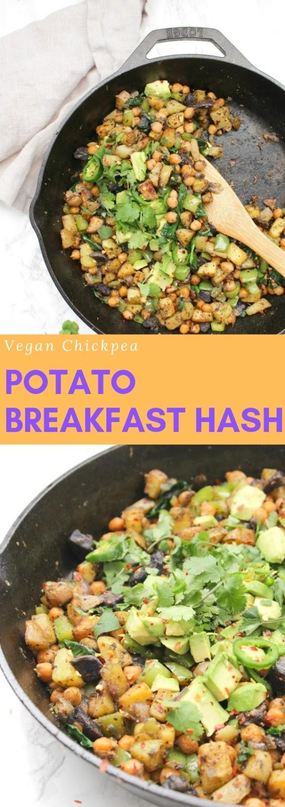 Vegan Chickpea Potato Breakfast Hash #healthy #vegan #chikpea #potato #breakfast #hash