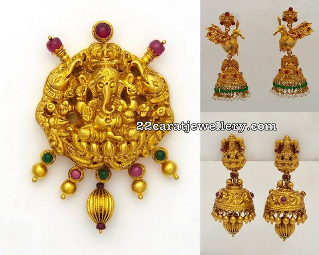 Parrot Jhumkas and Ganesh Pendant