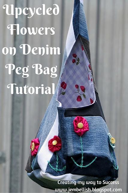 Flowers on Denim Peg Bag