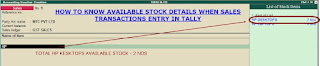 stock details information when sale entry in tally
