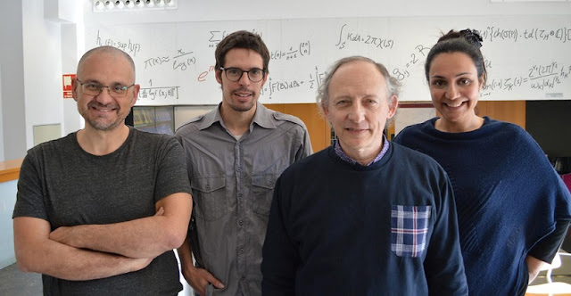 Group photo of the four researchers (from left to right: Álvaro Corral, David Moriña, Pedro Puig, Isabel Serra). Credit: Luca Tancredi, CRM