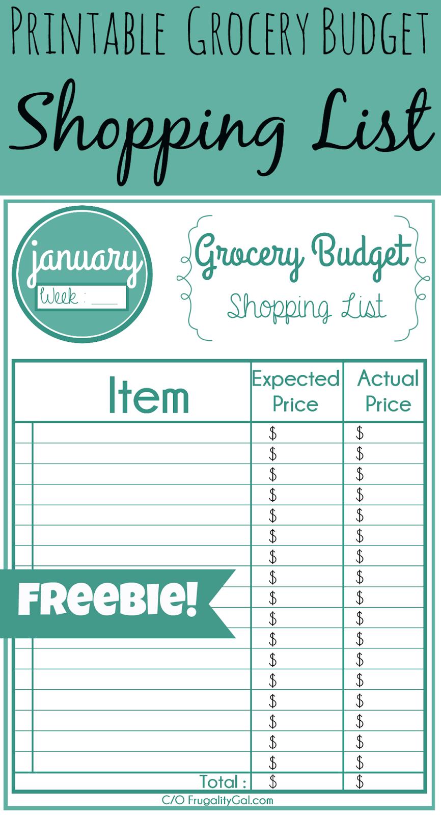 Printable Grocery List Frugality Gal – Free Printable Grocery List Template
