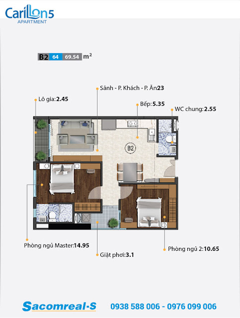 Carillon 5 - căn hộ loại B với thiết kế 2 phòng ngủ.
