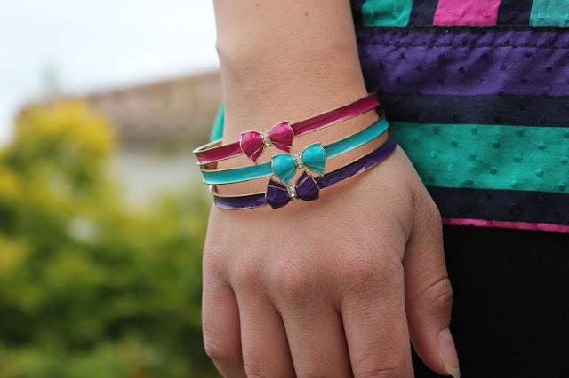 Forever 21 Magenta, Teal, Purple Bow Bracelets