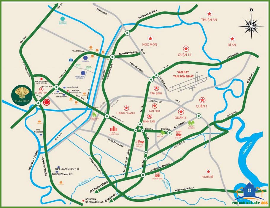 Bản đồ vị trí dự án bella vista city - bella vista củ chi