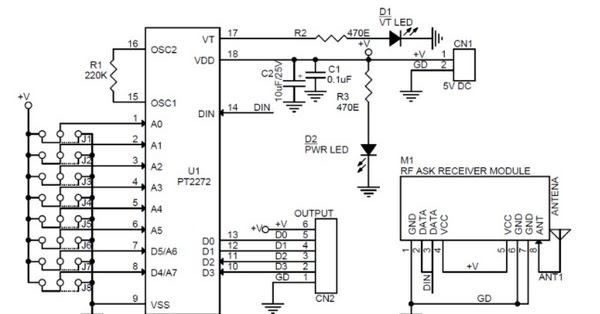 Circuit Schematic 4 Channels Rf Remote Controller Using