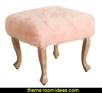Faux Fur Blush Square Stool