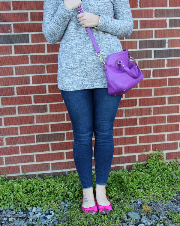 girly girl, gray tunic, pops of color