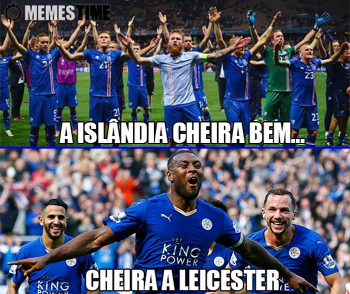 Meme Vitória da Islândia sobre a Inglaterra e do Leicester na Premier League – A Islândia cheira bem, cheira a Leicester.