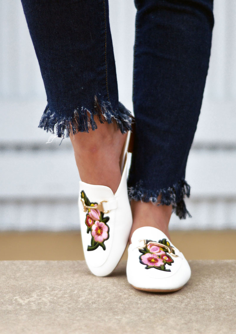 diy fringe hem jeans and embroidered floral loafers