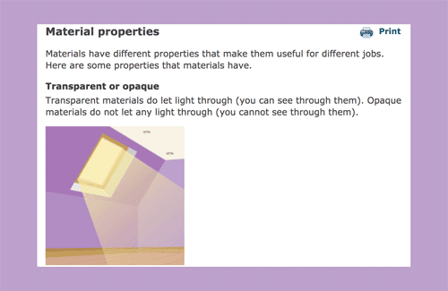 Information and quiz about the properties of materials