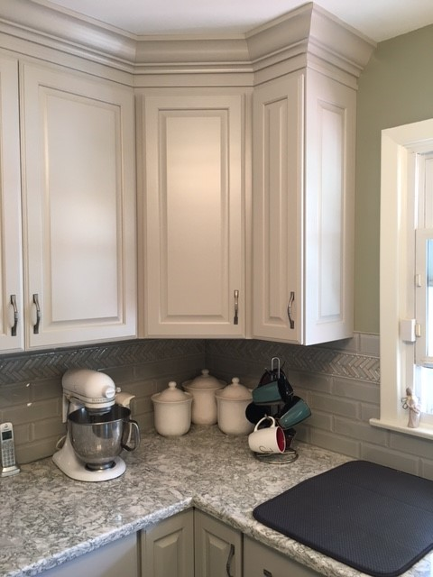 We Replaced The Outdated Natural Oak Cabinets With New Light Grey Painted Woodland  Cabinetry In The Hill Door Style. We Also Swapped Out The Appliances, ...