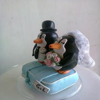 Noivinhos pinguins para topo de bolo