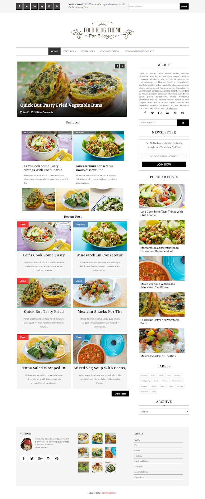 Food Blogger Templates | Food Blog Blogger Template Zona Template