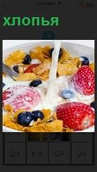 460 слов 4 в тарелке лежат хлопья с ягодами и молоко наливают 9 уровень