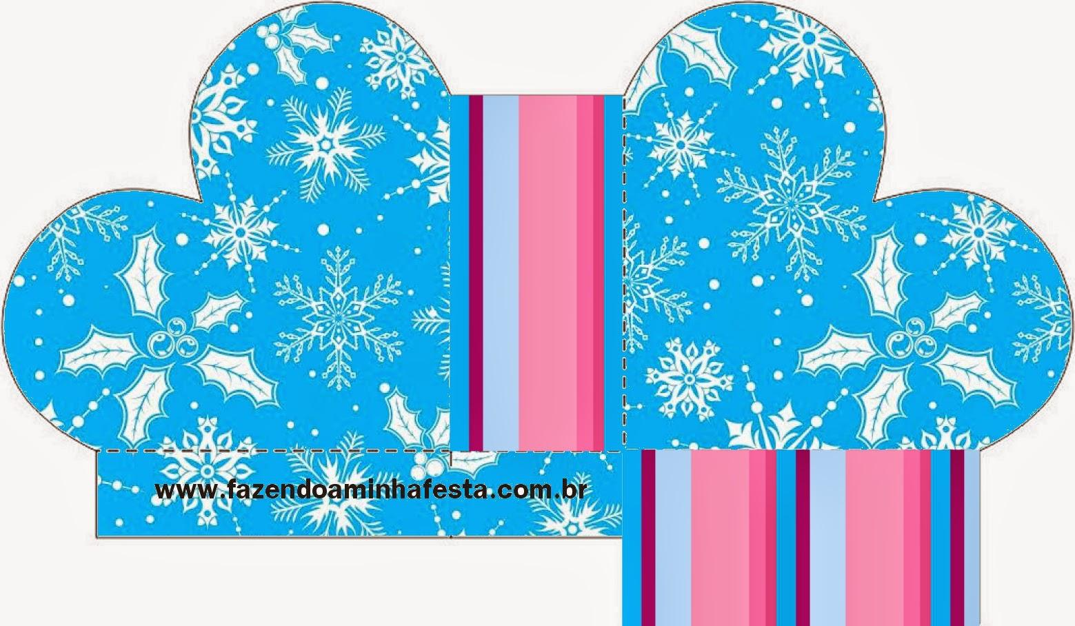 Caja abierta en forma de corazón de Frozen en Morado y Celeste para Navidad.