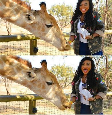 Actress Daniella Okeke Shows Daring Side, Poses With Lion Cub