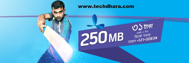 GP 250 MB internet data at Tk. 31 validity 2 days