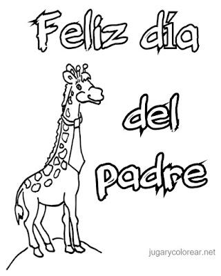 colorear feliz día del padre jirafa con corbata