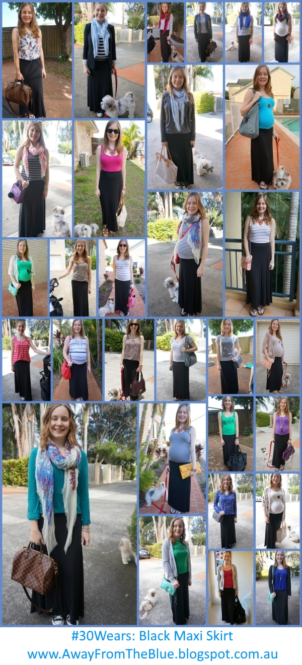 30Wears: 1 black maxi skirt 30 different ways to wear outfit ideas | Away From The Blue blog