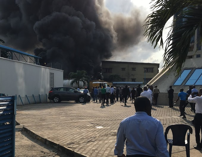 INFERNO: Diesel tanker explodes in EcoBank Head Office in Victoria Island