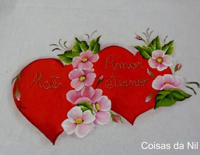 pano de copa com coracao e flores