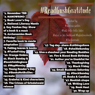 Read Gush Gratitude photo challenge for bookstagram November