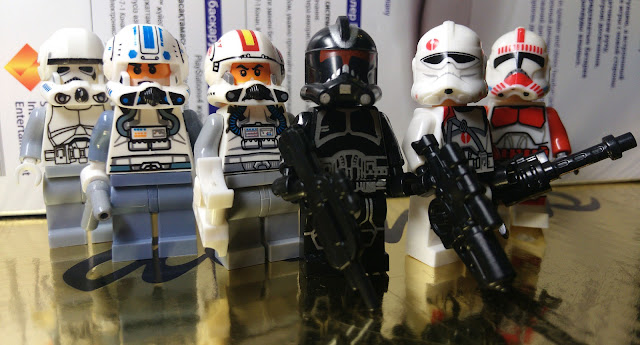 Clone trooper pilots, shadow clone trooper, Commander Neyo and сlone shock trooper, Star Wars