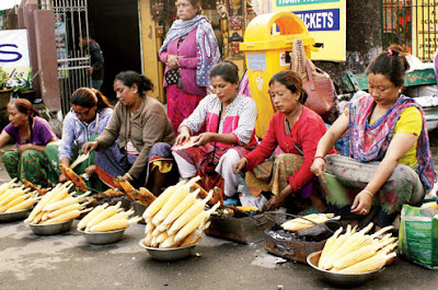 Women sell corn at Chowrastha in Darjeeling