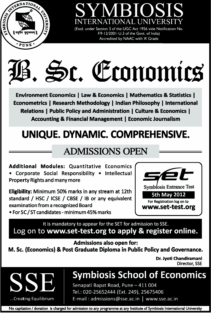 B Sc  Economics offered by Symbiosis-Pune - Atmiya Vidya Mandir