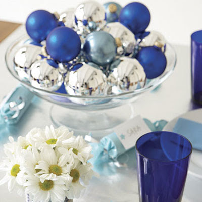 blue and silver wedding centerpiece