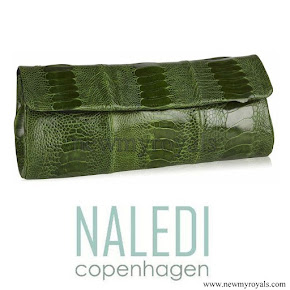 Crown Princess Mette-Marit style Naledi Copenhagen NB11 Emerald Green ostrich clutch