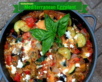 Mediterranean Eggplant Skillet ♥ KitchenParade.com, quick, easy & tasty vegetarian supper, just eggplant, zucchini and tomato (fresh or canned) with a little feta stirred in.