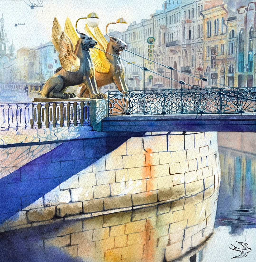 03-Bank-Bridge-St-Petersburg-Viktoria-Kravchenko-Architecture-Student-Paints-City-Scenes-Watercolors-www-designstack-co