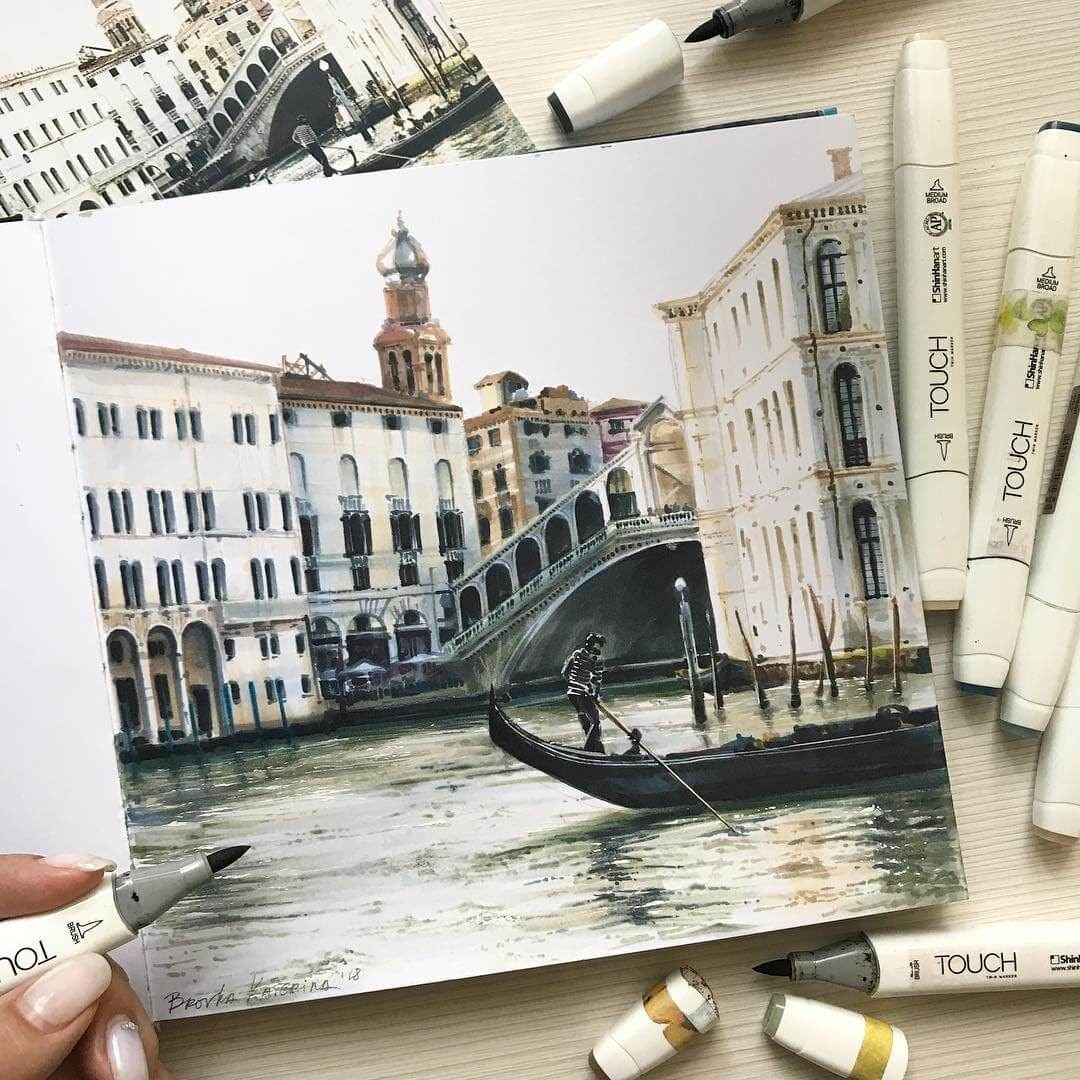 07-I-am-guessing-Venice-Katerina-Brovka-Architecture-in-Bright-Color-Drawings-www-designstack-co